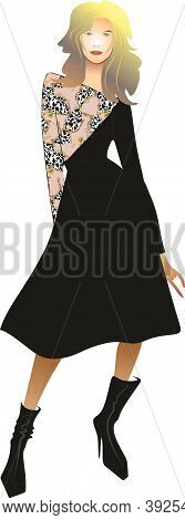 Stylish Women\'s Dress. Beautiful Silhouette Of The Dress. Cocktail Dress. Luxury Girl. Black Dress.