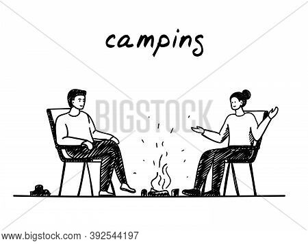 Couple And Campfire Handdrawn Illustration. Cartoon Vector Clip Art Of A Man And Woman Sitting By Th