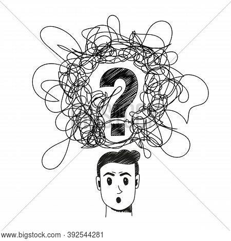 Confused Person Handdrawn Illustration. Cartoon Vector Clip Art Of A Portrait Of A Surprised Man Wit