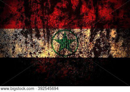 Arabistan, Democratic Revolutionary Front For The Liberation Of Arabistan Flag On Grunge Metal Backg