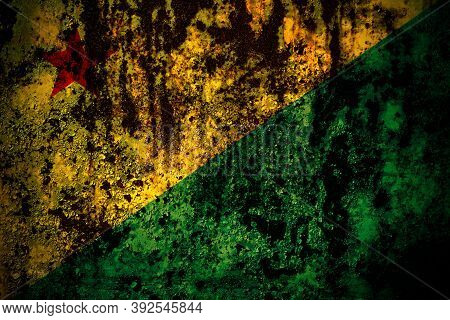 Brazil States Acre Flag On Grunge Metal Background Texture With Scratches And Cracks