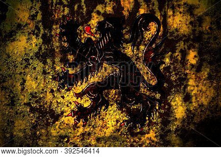 Flanders, Flemish Flag On Grunge Metal Background Texture With Scratches And Cracks