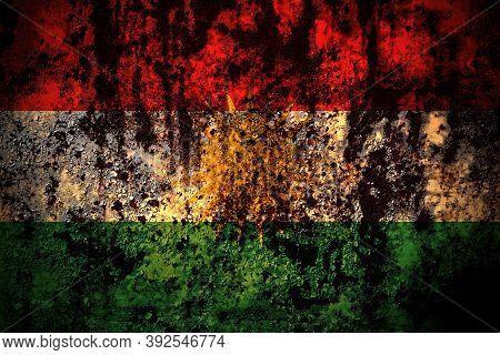 Kurdistan, Kurdish, Kurds Flag On Grunge Metal Background Texture With Scratches And Cracks