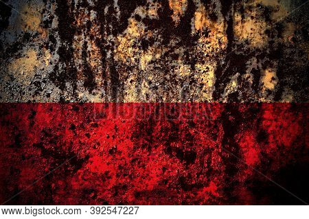 Poland, Polish, Pole Flag On Grunge Metal Background Texture With Scratches And Cracks
