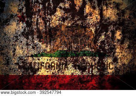 United States Of America, America, Us, Usa, American, California, Californian Flag On Grunge Metal B