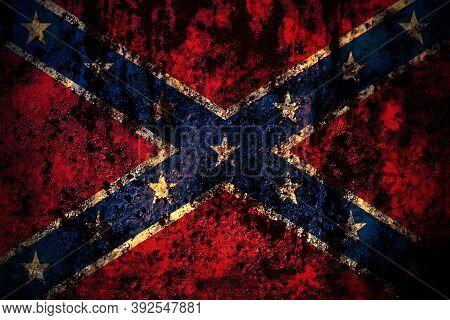 United States Of America, America, Us, Usa, American, Confederate Navy Jack Flag On Grunge Metal Bac