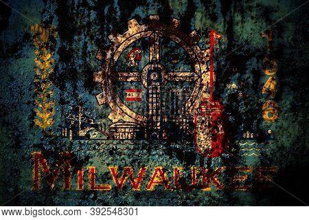 United States Of America, America, Us, Usa, American, Milwaukee, Wisconsin Flag On Grunge Metal Back