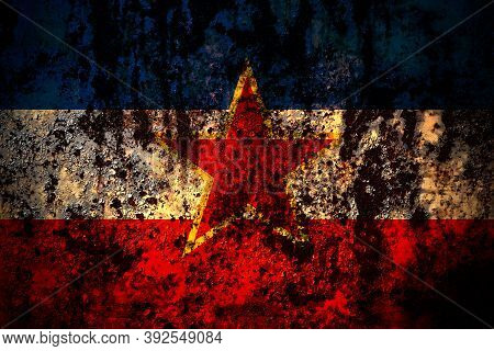 Yugoslavia, Yugoslavian Flag On Grunge Metal Background Texture With Scratches And Cracks