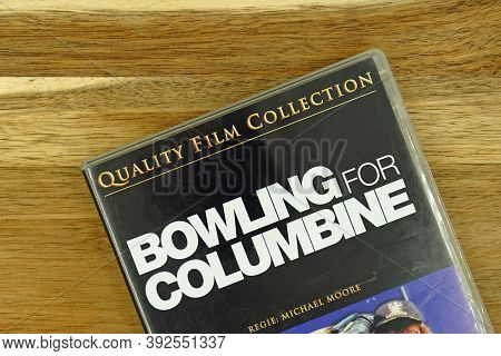 Amsterdam, The Netherlands - November 1, 2020: Dvd Cover Bowling For Columbine Against A Wooden Back