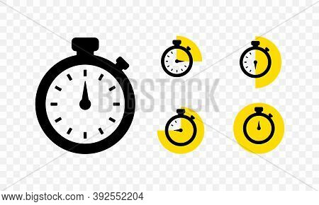 Set Of Timer And Stopwatch Icons. Countdown Timer With Different Time. Kitchen Timer Icon With Diffe
