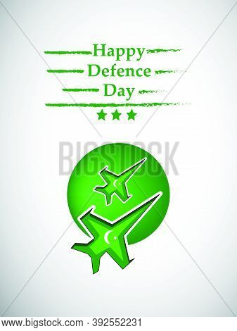 Illustration Of Aircrafts On Green Button Background With Happy Defence Day Text On The Occasion Of