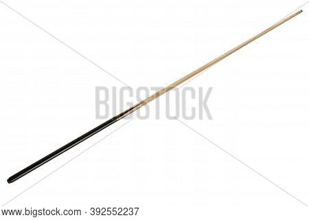 Wooden Billiard Cue With Black Handle, White Background