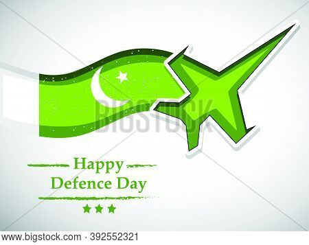 Illustration Of An Aircraft And Pakistan Flag With Happy Defence Day Text On The Occasion Of Pakista