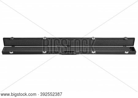 Modern Black Leather Case For A Collapsible Cue, The Case Is Open, Inside Is Soft Foam Rubber, On A