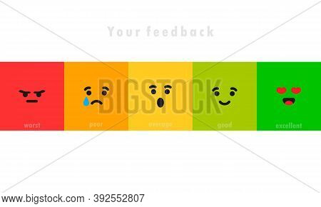 Different Face Emotion. Feedback Scale. Angry, Sad, Neutral, Satisfied And Happy Emoticon Set. Emoti