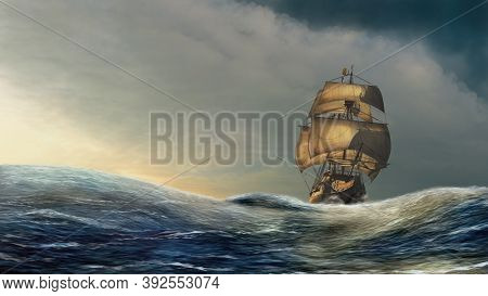 Sailboat On The Dramatic Open Sea Under The Golden Sunshine. 3d Render Illustration With Digital Pai