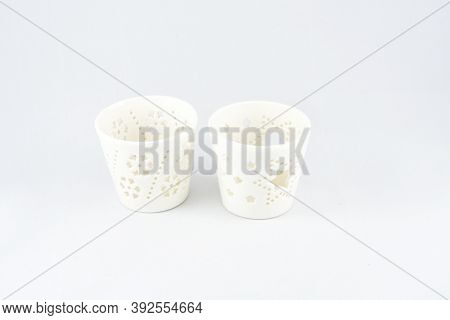 Stand, Glass For Scented Candles, White, Two Pieces, On A White Background