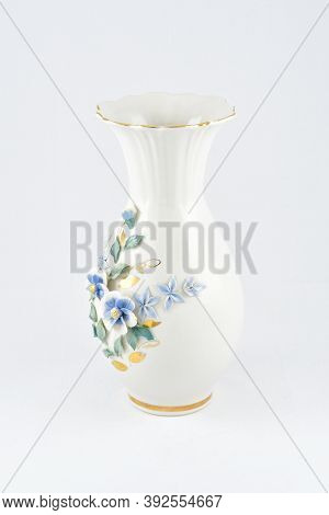 Flower Vase, Floral Ornament, White, On A White Background, Golden Rim