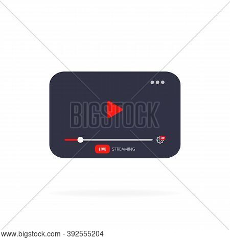 Template Video Player Pc. Live Stream Concept With Play Button. Mockup Online Channel. Social Media