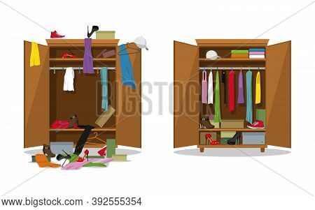 Before Untidy And After Tidy Wardrobe. Woman Clothings And Shoes In Mess And Tidy Organizing, Openin