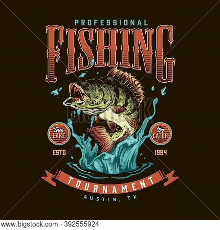 Fishing Vintage Colorful Label With Bass Fish In Water Splashes Isolated Vector Illustration