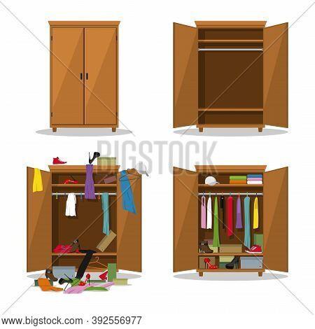 Close And Open Wardrobe Set, Before Untidy And After Tidy Wardrobe With Mess Clothes. Closet With Cl