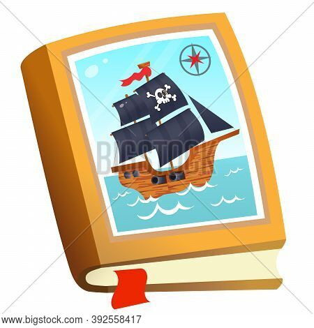 Color Image Of Children's Book About Pirates On White Background. Fairy Tales And Adventure. Vector