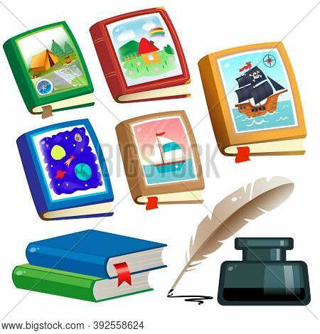 Color Image Of Children's Books On White Background. Fairy Tale And Adventure. Encyclopedia And Fict