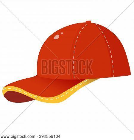 Color Image Of Red Children's Baseball Cap. Summer Headdress. Male Clothing. Vector Illustration For