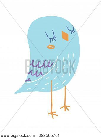 Funny Hand Drawn Vector Illustration With Cute Blue Bird Isolated On A White Background. Simple Infa