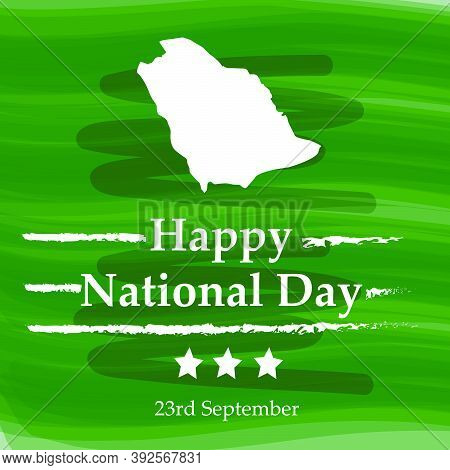 Illustration Of Saudi Arabia Map On Green Background With Happy National Day Text On The Occasion Of