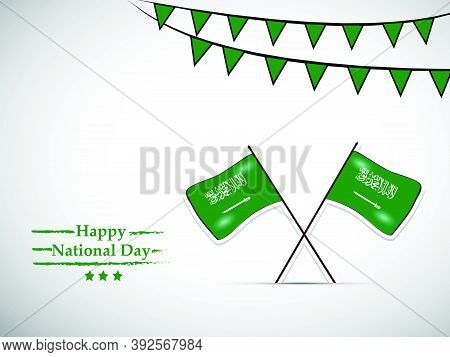 Illustration Of Saudi Arabia Flags Written In Arabic Language Islamic Declaration Of Faith, Sword An