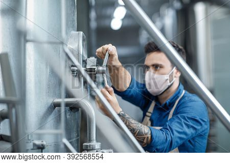 Small Business, New Normal And Work During Covid-19 Quarantine. Brewery Young Attractive Male Worker