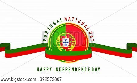 Portugal Independence Day With Portugal Flag Emblem Vector Illustration. Good Template For Independe