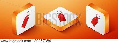 Isometric Rectangular Key Chain With Ring For Key Icon Isolated On Orange Background. Orange Square