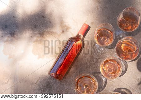Pink Wine In Glasses And Bottle, Top View, Wine Testing Concept