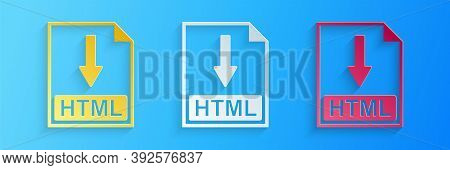 Paper Cut Html File Document Icon. Download Html Button Icon Isolated On Blue Background. Paper Art