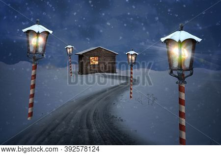 Hut Lantern North Pole Christmas Road On Snow