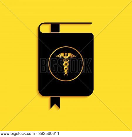 Black Medical Book And Caduceus Medical Icon Isolated On Yellow Background. Medical Reference Book,