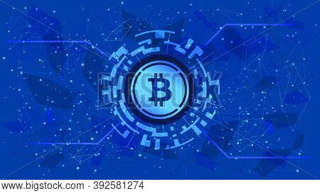 Wrapped Bitcoin Wbtc Token Symbol Of The Defi Project In A Digital Circle With A Cryptocurrency Them