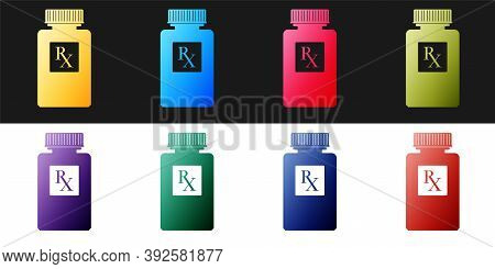 Set Pill Bottle With Rx Sign And Pills Icon Isolated On Black And White Background. Pharmacy Design.
