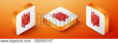 Isometric Law Book Statute Book With Scales Of Justice Icon Isolated On Orange Background. Orange Sq