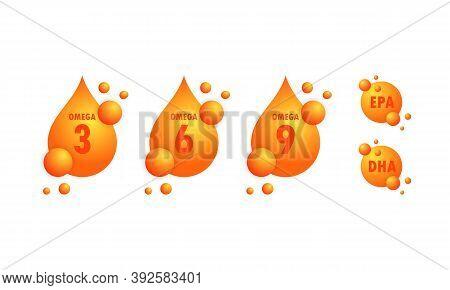Omega Acids. Epa, Dha Drops Set. Omega Three, Six And Nine. Organic Vitamin. Fish Oil Gold Capsule.
