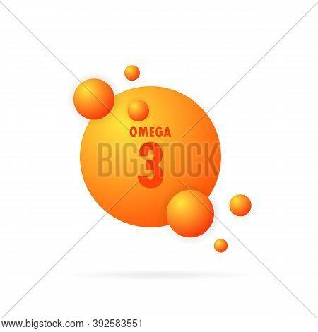 Omega 3 Gold Icon. Fish Oil Capsule. Vitamin Drop Pill Capsule. Gold Essence Organic Nutrition. Shin