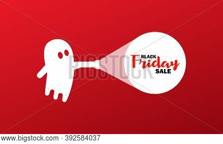 Black Friday Sale For Halloween Banner. Ghost With A Flashlight. Cheap Price. Vector On Isolated Bac
