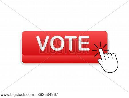 Vote Button. Hand Click Icon. Finger Click Icon. Vector Stock Illustration.
