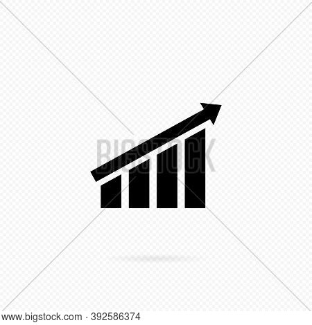 Business Graph Icon. Success As Growth Line. Growing Bars Graphic With Rising Arrow. Growing Graph I