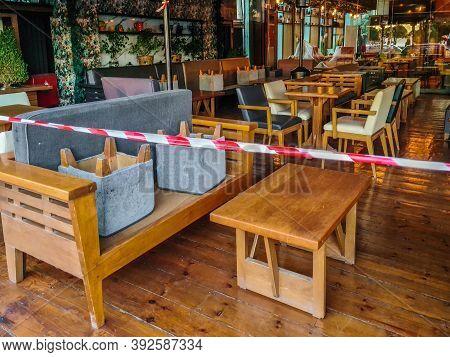 Thessaloniki, Greece - November 01 2020: Lockdown With Empty Tables As Coronavirus Measures Affect B