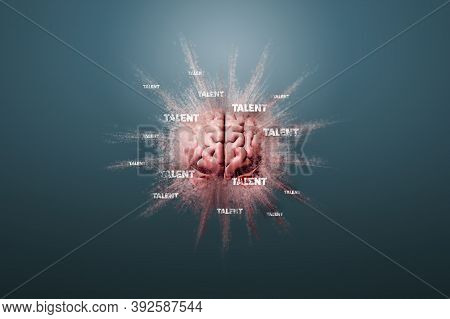 Talent Is In Your Brain Concept. Human Brain Floating On A Blue Background And Text Talent, 3d Rende