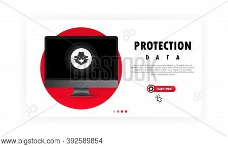 Computer Data Protection Data. Protect Personal Data From Hacker Attacks Concept. Cybercrime. Vector